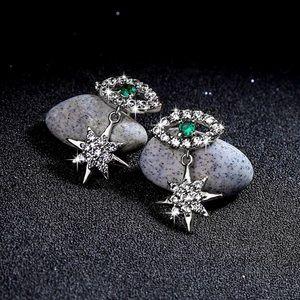 2/$20! Silver Crystal Pave Green Eye/Star Earrings